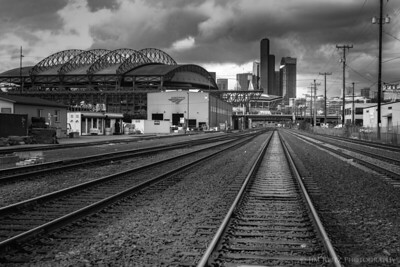 Black & white view of downtown Seattle from SODO area.