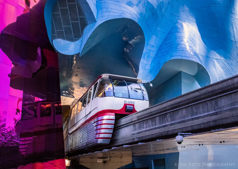 """Seattle Monorail emerging from MoPOP (Museum of Pop Culture) building - a.k.a. """"The Blob""""..."""