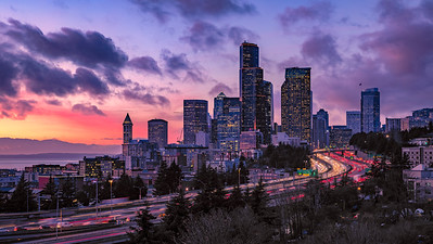 Downtown Seattle sunset view, from 12th Avenue bridge...