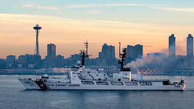 Coast Guard cutter leaving Seattle at sunrise.