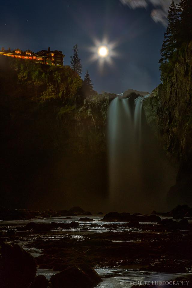 Moonrise over Snoqualmie Falls