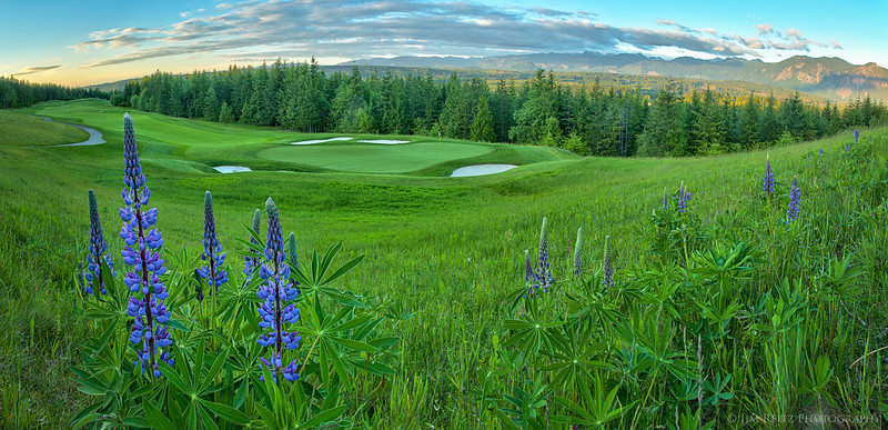 The 12th hole at TPC Snoqualmie Ridge golf course, near Snoqualmie, Washington