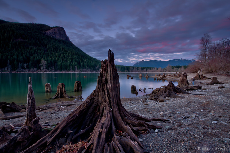 Sunset at Rattlesnake Lake, near North Bend, WA.