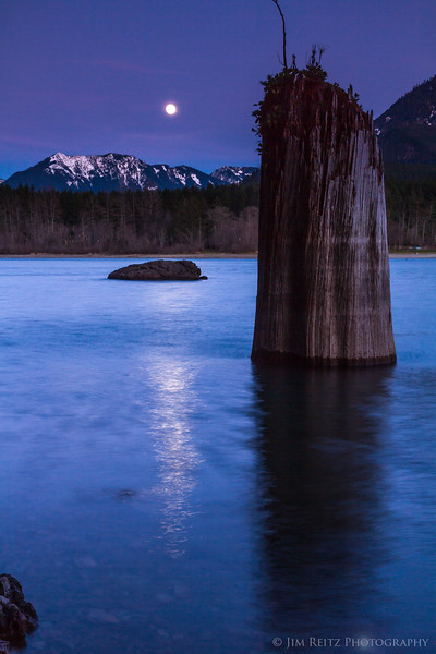 Moonrise over Rattlesnake Lake, near North Bend, WA.