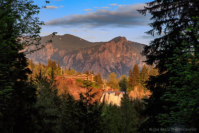 Snoqualmie Falls, Mount Si, and Salish Lodge at sunset