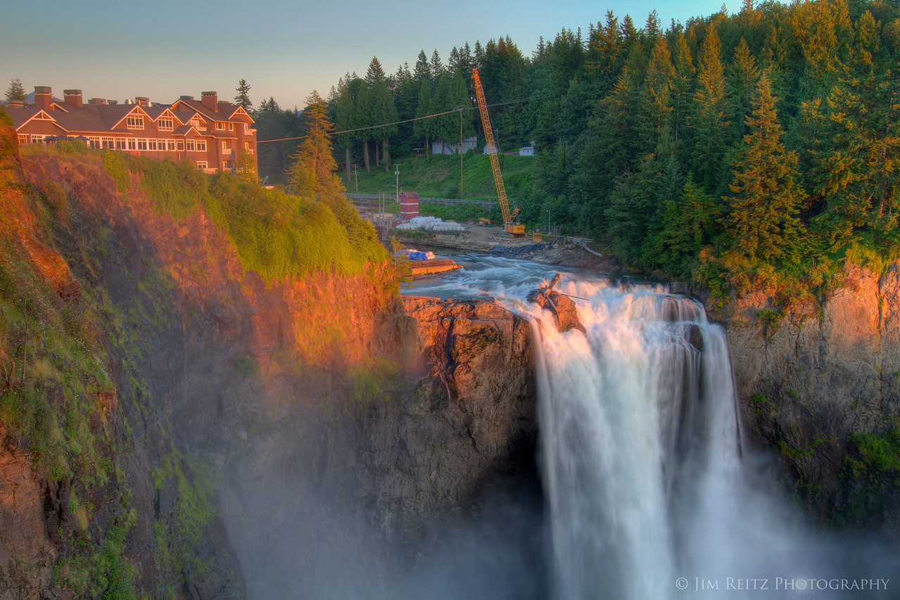 Snoqualmie Falls at sunset