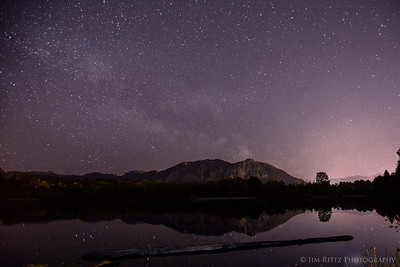 Stars and Milky Way rising over Mount Si near Snoqualmie, Washington