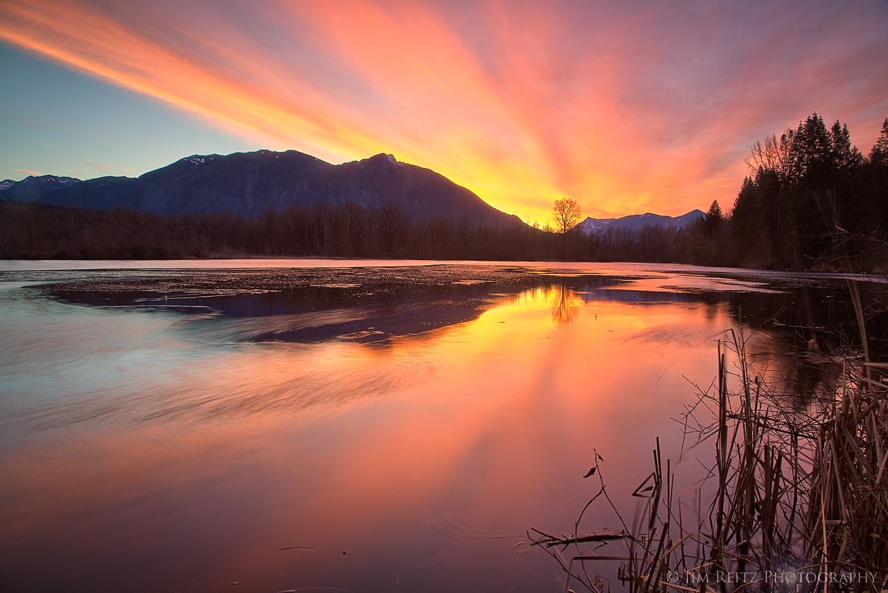 Sunrise over Mount Si, near Snoqualmie, Washington