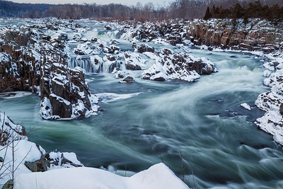Snowy Evening at Great Falls
