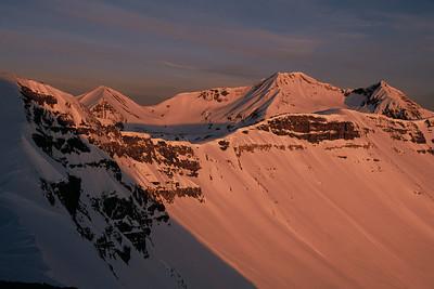 Morning alpenglow on Scarp Ridge and Ruby Owen Purple