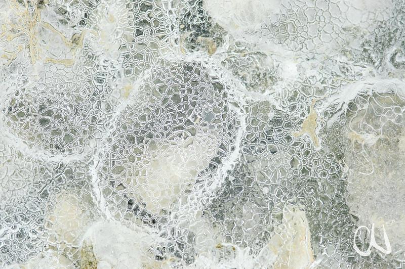 Eis über Kieselsteinen, Bodenseeufer bei Markelfingen, Detail, Struktur, Makro