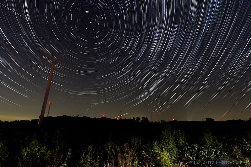 Star trails and wind turbines, near Fond du Lac, WI.