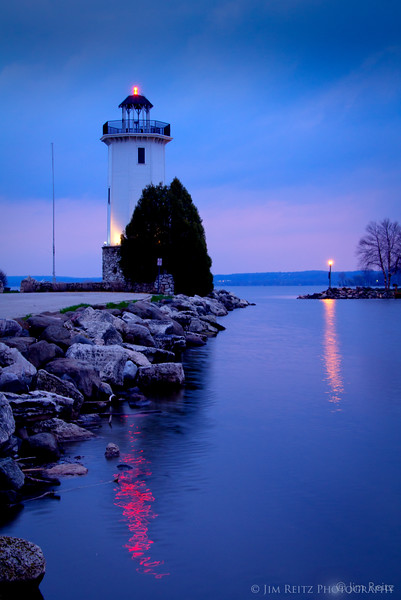 Fond du lac lighthouse at sunset.
