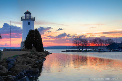 Fond du Lac lighthouse at sunrise.