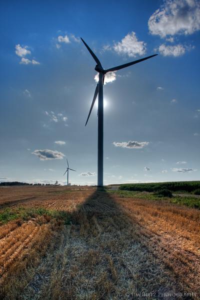 Wind farm turbines near Fond du Lac, WI