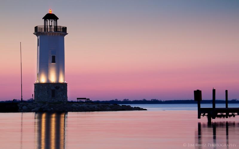 Fond du lac lighthouse at sunset.