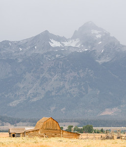 Barn with Grand Tetons in the Background - Grand Tetons National Park, WY