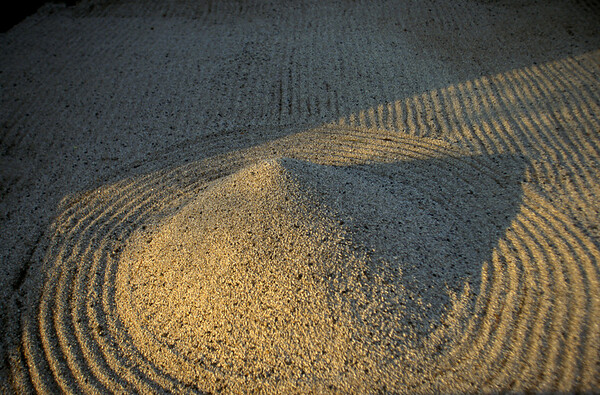 Japan - Kyoto - Detail of a sand garden at the Ryoanji Temple