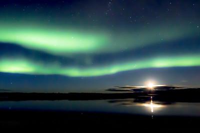 Northern Lights and Moon