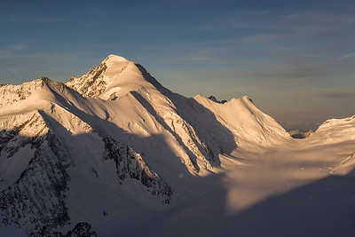 Aletschhorn at sunrise from the Grünhorn, Switzerland