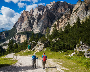 Walking into Alta Badia. Dolomites, Italy.