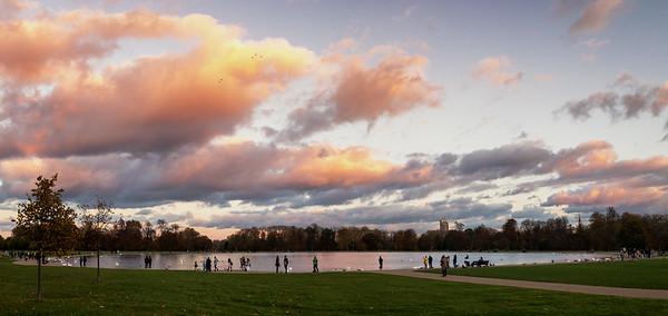 Wild Sky Over Round Pond, Kensington Gardens, London