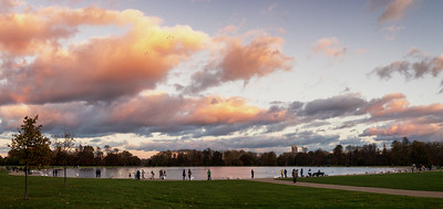 Wild Sky Over Round Pond, Kensington Gardens, London