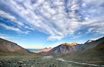Late afternoon sunlight along the northern boundary of the Yukon's Kluane Range. September, 2013.