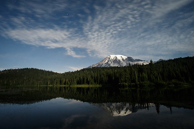 Moonlit Mt Rainier and Reflection Lake
