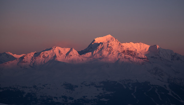 Mont Pourri (Vanoise) at sunset from Mont Rosset, France