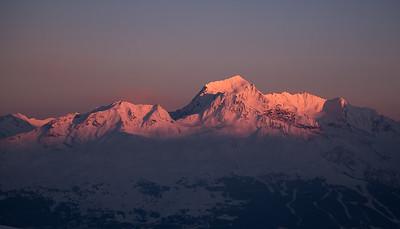 Mont Pourri (Vanoise) at sunset from Mont Rosset, France