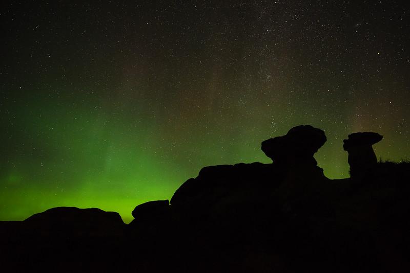 Hoodoos Under Aurora