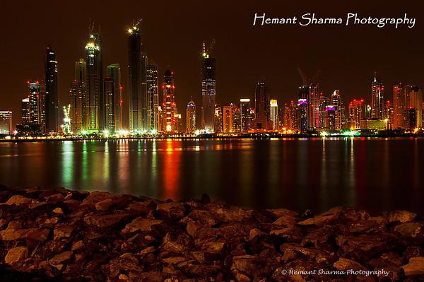 Dubai Marina late night at 12 PM.....