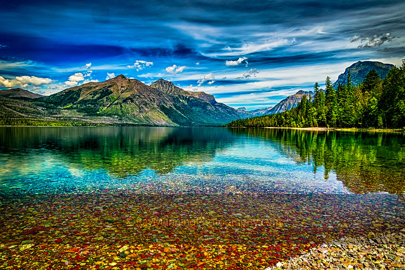 Colorful rocks at Lake McDonald