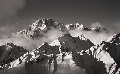 Mont Blanc and Mont Maudit from Tête des Français, Aosta, Italy