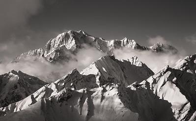 Mont Blanc and Mont Maudit from Tête des Français, Aosta, Italy