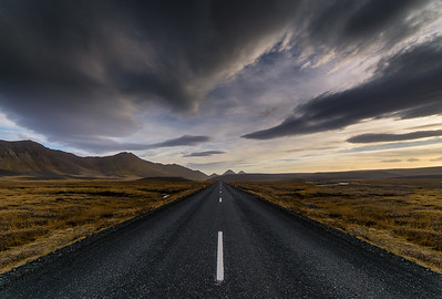 Iceland Road in Wind Storm