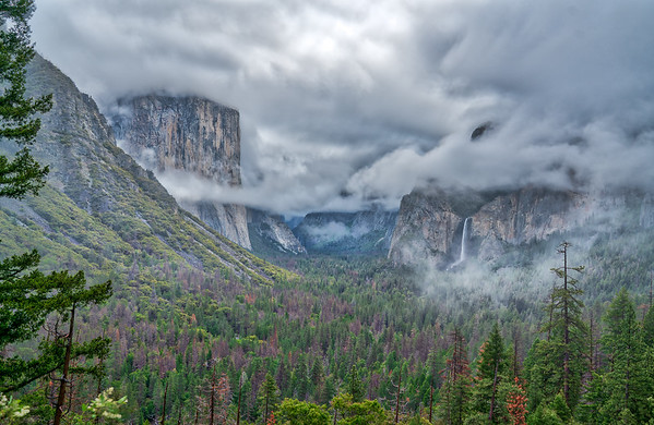 Clouds providing for a dramatic view of Yosemite valley