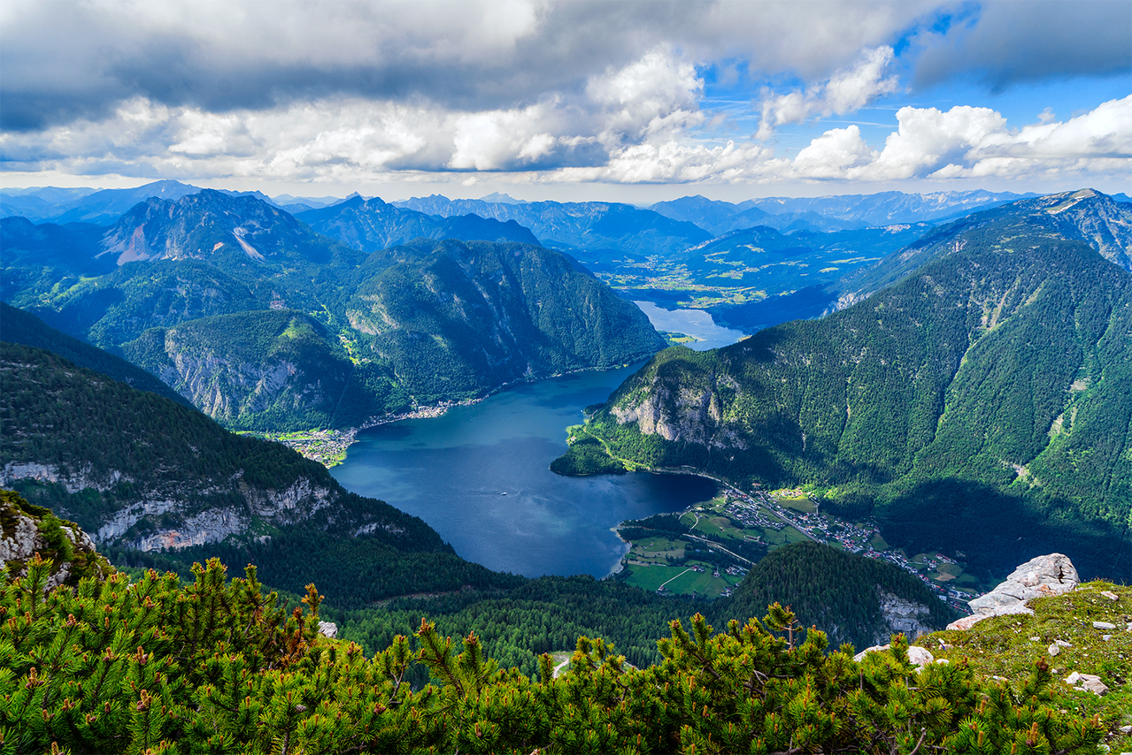 hallstatt, austria, mountains, fivefingers, 5 fingers, mountains, water, green, clouds, sky