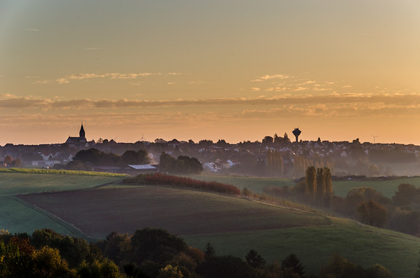 Sunrise in fall in Martinshöhe Germany.