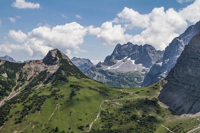 Blick von der Falkenhütte im Karwendel
