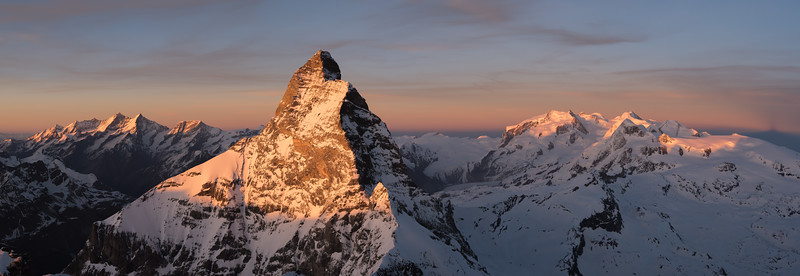 Matterhorn and Monte Rosa at sunset from the Dent d'Herens, Italy/Switzerland