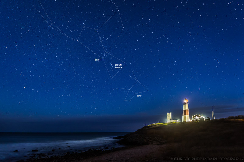 Orion over Montauk Point Lighthouse