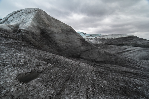 Unique glacial landscape looking over the top of Flaajokull, Iceland