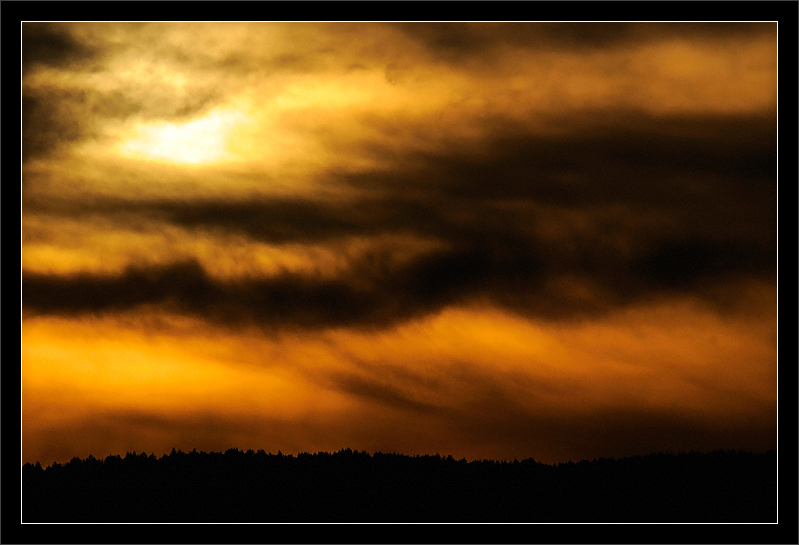 Orange Mountain Sunset  Sunset in the clouds over the Santa Cruz mountains  San Francisco Bay Area, California  13-MAR-2010