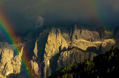 Double rainbow over the Sella Massif. Dolomites. Italy.