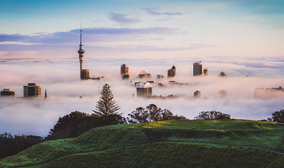 Auckland in the Fog from Mount Eden