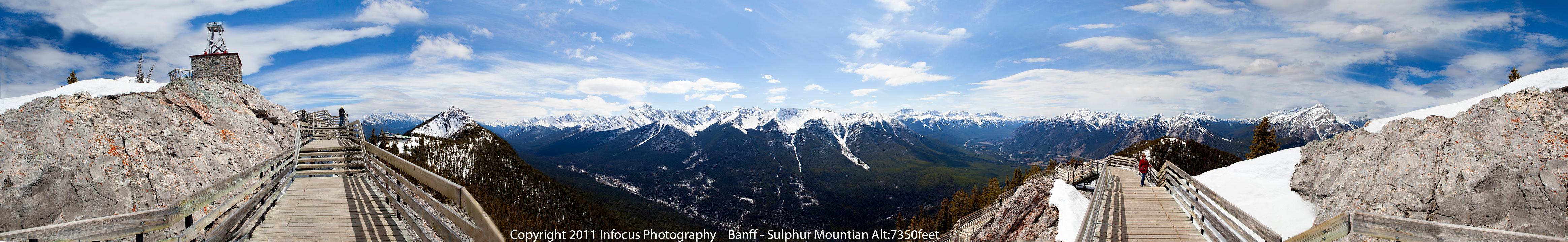 360 degree panoramic Banff, Alberta, Canada.  Sulphur Mountain Altitude: 7350 feet