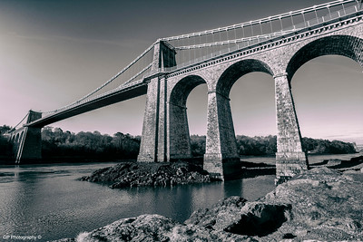 Menai Bridge B&W