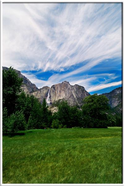 Clouds and Yosemite Falls  Memorial Weekend  31-MAY-2004